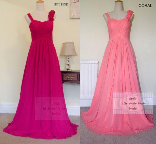 A-Line Princess Full Length Flower Straps Evening Bridesmaid Dress 6-24 JS55