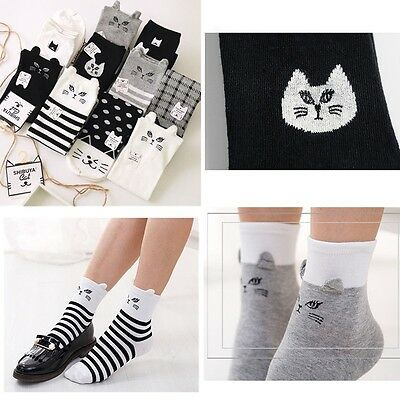 Women Cute 3D Cartoon Animals Striped Socks Cat Footprints Cotton Socks Hosiery