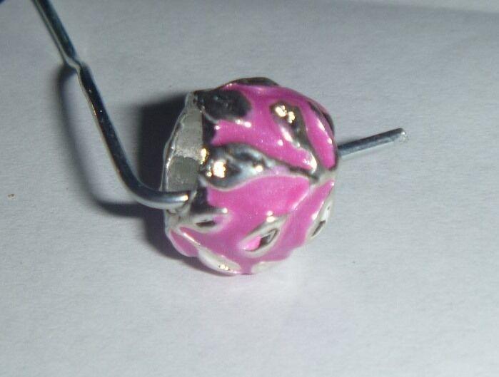 European Bead Silver Leaves Pink Swirls Crystals Charm Bead Aus Seller
