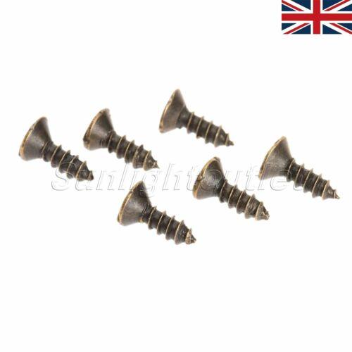 200Pcs Mini Antique Bronze Flat Countersunk Head Self Tapping Tapper Screws UK