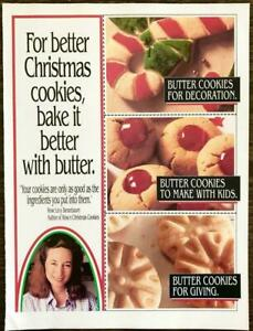 1992 American Dairy Farmers 2-Sided PRINT AD Recipes Christmas Butter Cookies
