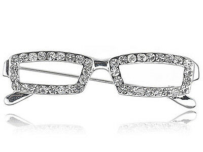 UK School Teacher Clear Crystal Rhinestone Reading Glasses Frame Pin Brooch