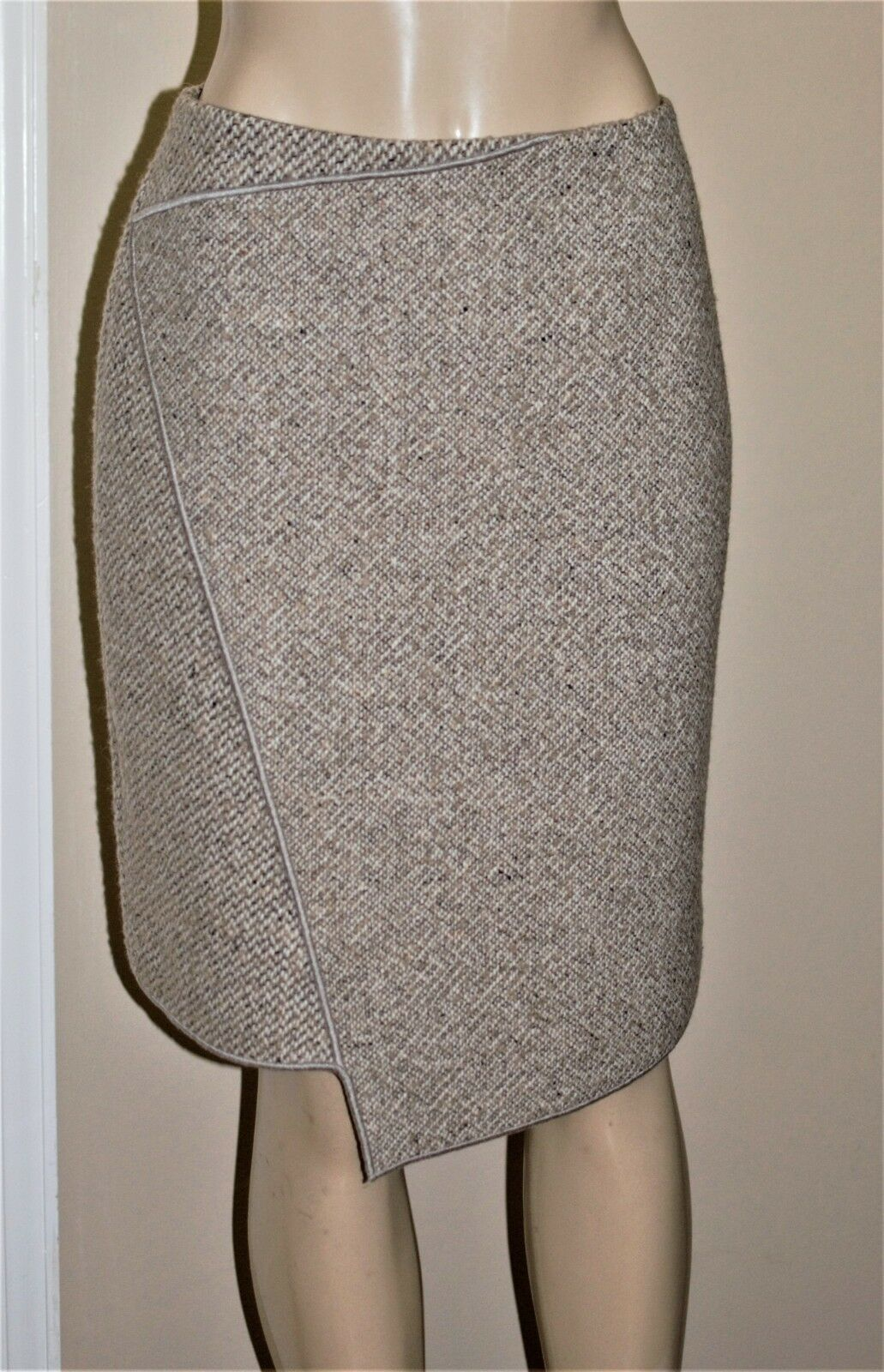WORTH Ivory Heather Sable Mixed Tweed Wool Blend Overlay Skirt size 10 NWT  298
