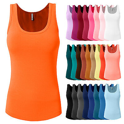 NE PEOPLE Solid Basic Relaxed Comfortable Scoop Neck Tank Top 26 Colors - NEWT28