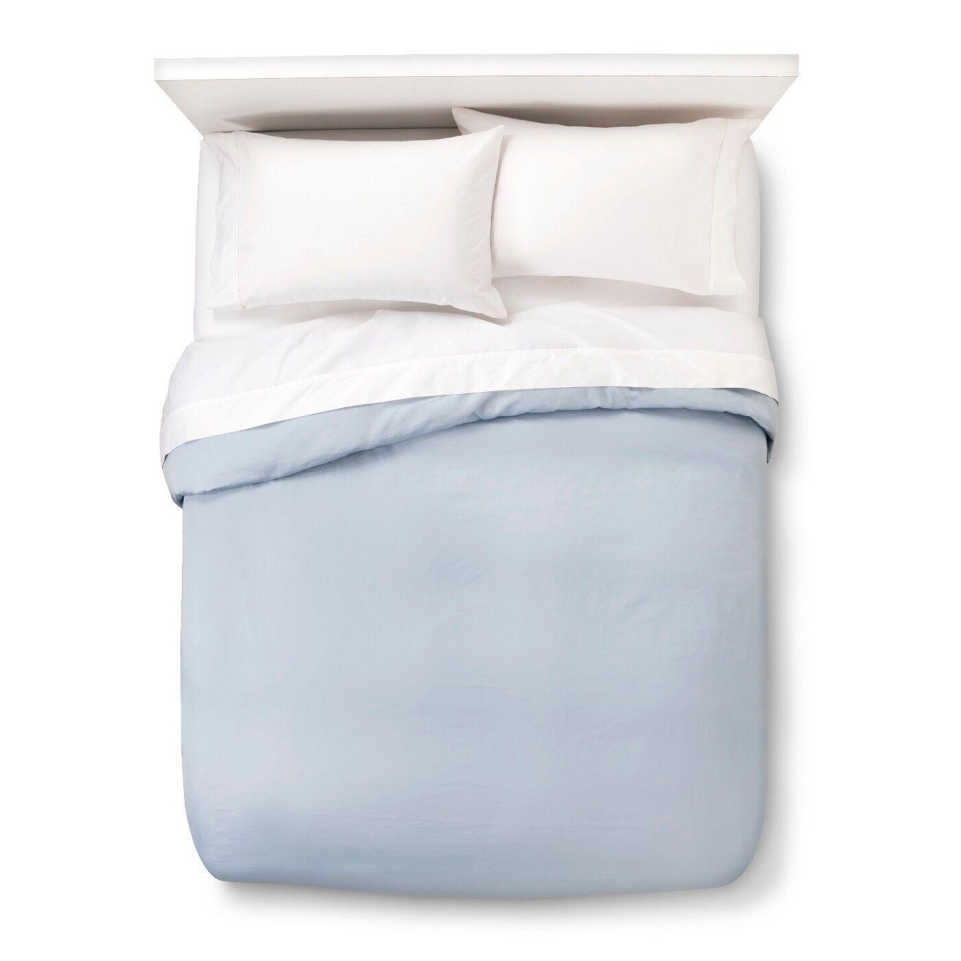 Kassatex Letto 300 TC Egyptian Cotton Sateen Duvet Cover Full Queen Light bluee