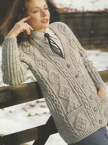19371ddffddc3d Image is loading Ladies-Aran-Long-Cardigan-Knitting-Pattern-with-pockets-