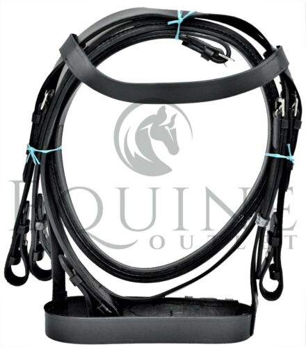 Cuir cheval bride Hunter avec Poignée en Caoutchouc Rênes-Disponible en Noir /& Marron