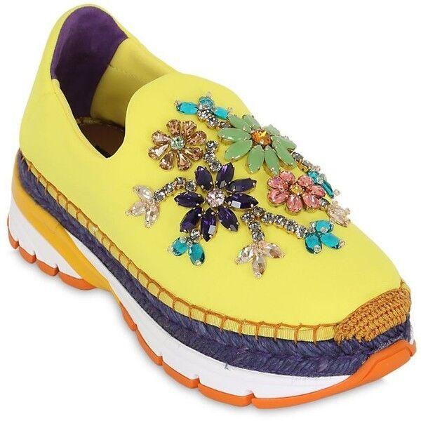 Cómodo y bien parecido Dolce Gabanna adornado Zapatillas Entrenadores pisos Reino Unido 4 - 5/IT37 -38 Nuevo