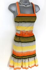 Stunning French Connection 'Boardwalk' Stripe Bow Strappy Evening Summer Dress 6