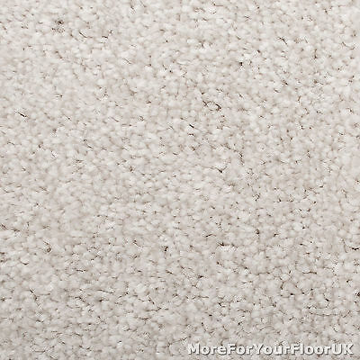 Misty White Extra Deep Pile Carpet Hessian Backed Quality Saxony, 4m & 5m Wide