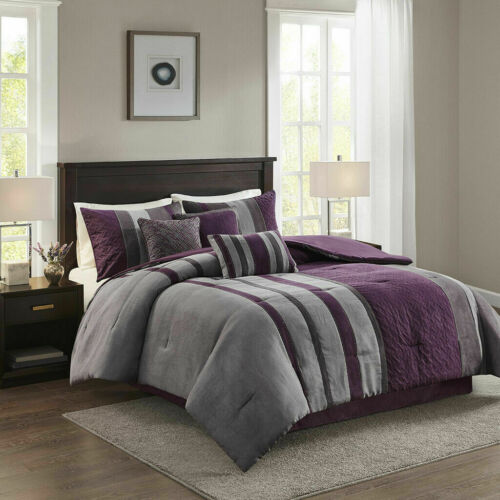 NEW! ~ CHIC ULTRA SOFT PLUSH COZY SUEDE STRIPE PLUM PURPLE GRAY COMFORTER SET