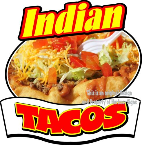 """Indian Tacos Decal 14/"""" Cater Concession Restaurant Food Truck Vinyl Sticker"""