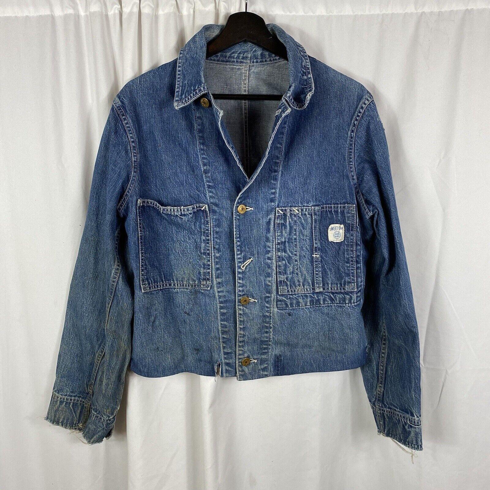 Vintage 40s 50s Sweet Orr Denim Chore Jacket Work… - image 1
