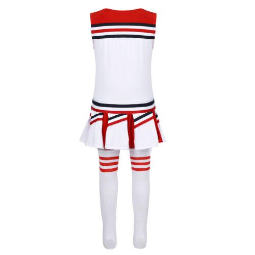 Kids School Uniform Girls Cheerleader Costume Outfit Carnival Party Dancewear