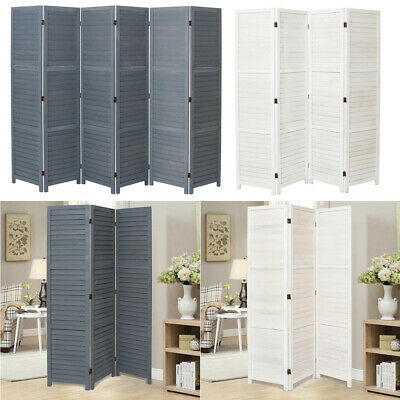 3 4 6 Panels Wooden Room Divider In Grey White Folding Partition Privacy Screen Ebay