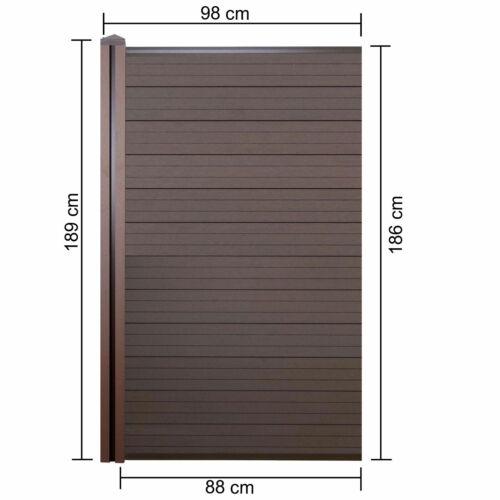 0,98m braun WPC-Pfosten Erweiterung schmal Zaun WPC-Sichtschutz Savoie