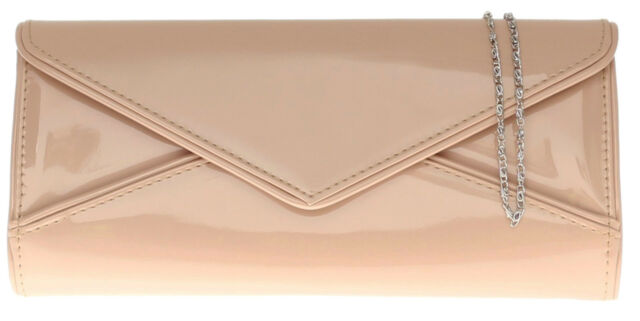 Clutch Bag Patent Faux Leather Womens