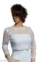 Ladies White Lace Bridal 3/4 Sleeve Bolero/shrug/jacket Sizes 8 To 18