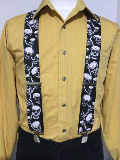 "New, Men's, Lightning & Skulls on Black, XL, 2"", Adj. Suspenders / Braces,  USA"