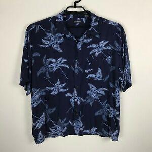 Puritan-Hawaii-Hemd-Herren-Groesse-2xl-Viskose-blau-gebluemt-Knopfleiste-Kurzarm
