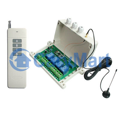 4 CH 15000ft Long Range Waterproof Remote Control Kit 30A Relay Output