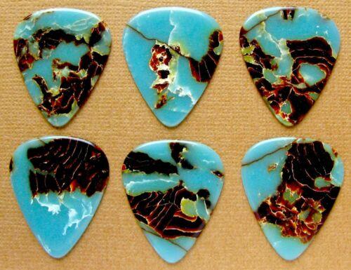 COLLECTORS Grade 6 Azure Blue Marbled Vintage Guitar Picks Standard 351 Size