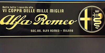 Reproduction Racing Garage Sign 1000 Miles 1940/'s  Alfa Romeo Mille Miglia