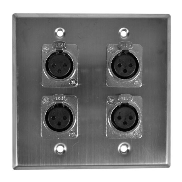 Stainless Steel Single Gang Wallplate w// 2 Neutrik OEM NC3MQL-H Male XLR Jacks