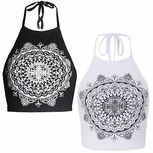 9551fffea33fc1 Image is loading New-Womens-Halter-Neck-Mandela-Print-Crop-Top-