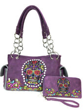 9ca78685bb87 Buy Zeckos Purple Foil Fabric Rhinestone Skull Concealed Carry Purse ...