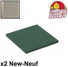 Lego - 2x Tile plaque lisse 6x6 Groove vert foncé/dark green 10202 10226 NEUF