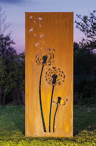 gartenwand sichtschutz wand pusteblume 3 stahl rost 75x195 cm ebay. Black Bedroom Furniture Sets. Home Design Ideas