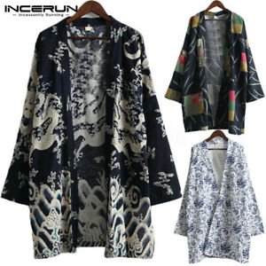 Hombres-kimono-japones-Yukata-Chaqueta-Abrigo-Prendas-de-Abrigo-Manga-Larga-Causal-Camiseta-Camiseta