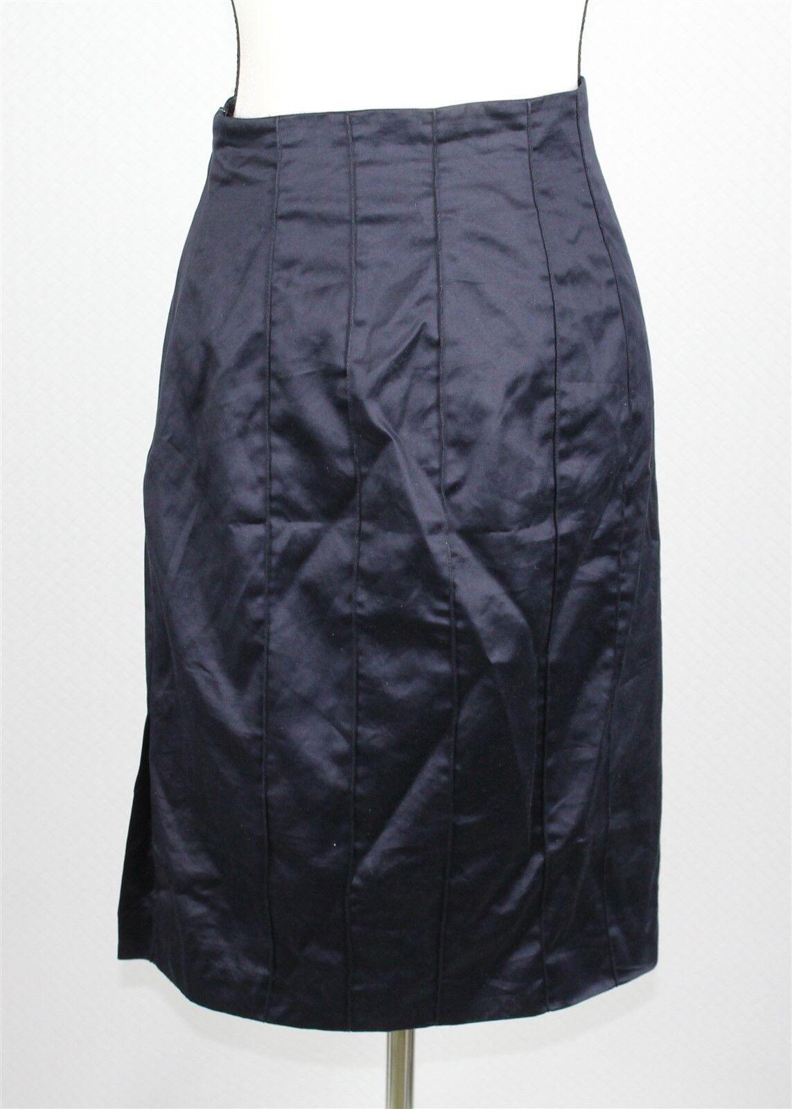Fendi Women's Skirt 10 Navy bluee 100% Cotton Straight Pencil Knee Length