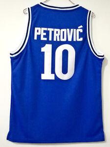 Drazen Petrovic #10 Cibona Croatia 1986 Basketball Blue Jersey