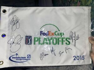 2015-DeutscheBank-Fed-Ex-Cup-Signed-Flag-Rickie-Fowler-Day-J-Thomas-Mickelson