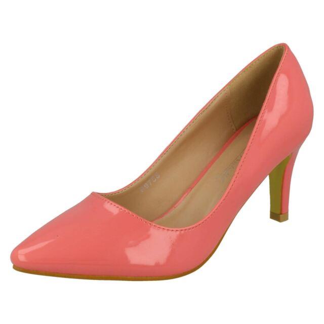 79c2debfc2c Ladies Anne Michelle Pointed Toe High Heel Plain Patent Court Shoes ...
