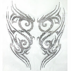 rhinestone iron on transfer hot fix motif crystal tattoo designs deco fashion ebay. Black Bedroom Furniture Sets. Home Design Ideas