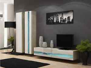 Details About High Gloss Tv Cabinet Wall Unit Stand Viva New 5 Sonoma White