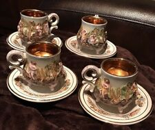 R. Capodimonte, 8 Pc Tea Set Gold Lined Demitasse Cups & Saucers 1940-1960 Stamp