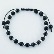 Shamballa Bracelet Honeycomb Black Agate 5mm beads 925 Silver Spheres Adjustable