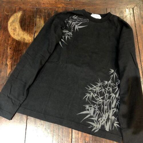 asistente bordado camiseta patrón larga de guerrero manga Mens Buda japonés 64zwBxgwq