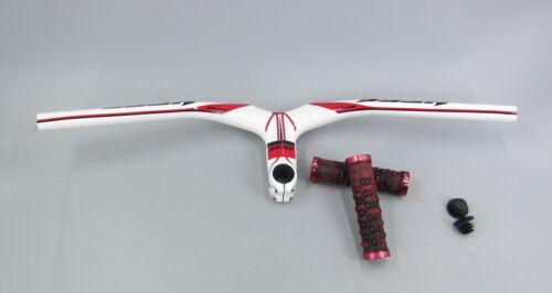 White Red Carbon MTB Riser handlebar integrated Bar stems Grips Brake Levers