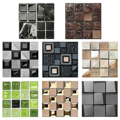 10pcs Mosaic Tile Wall Sticker PVC Waterproof Tiles Decals Kitchen Home Decor