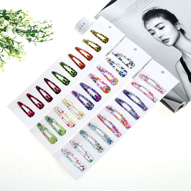 10pcs Boutique Girl Baby Kids Hair Clips Snap Hairpin Grip Candy Color Pretty