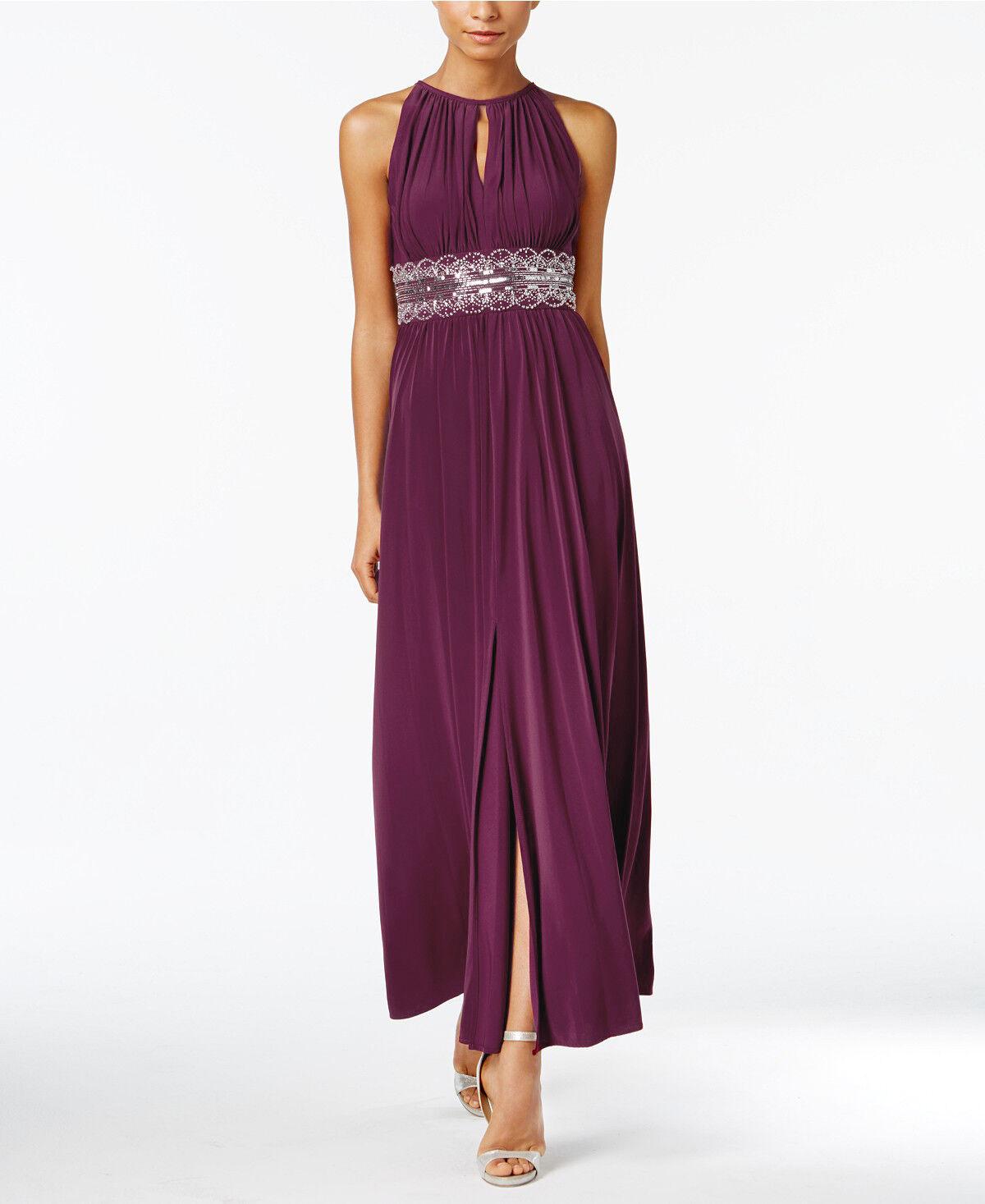 R&M Richards Größes 8-10-12-14 Beaded Sequined Keyhole Front-Slit Dress Bridal