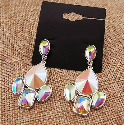 2'' Fringe MYSTICAL Waterdrop Rivet Rainbow Geometric Crystal Club Lady Earrings