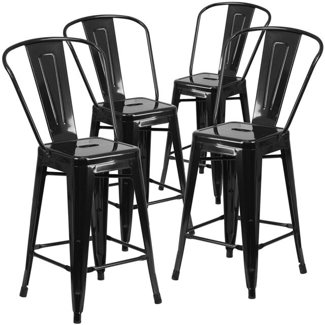 Pleasing 4Pc Set Industrial Vintage Style Bar Height Stool With Full Back 30Inch Black Pabps2019 Chair Design Images Pabps2019Com