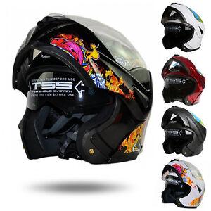 DOT-Dual-Visor-Flip-Up-Full-Face-Modular-Motorcycle-Bike-Motocross-Helmet