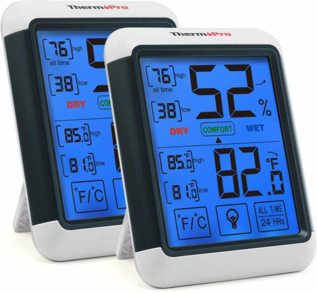 ThermoPro TP55 2 Pieces Digital Hygrometer Indoor Thermometer